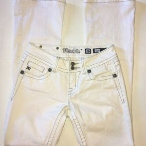 Miss Me Boot Cut Jeans White Silver Stitching 26S